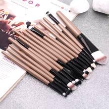 Нейлоновые кисти для макияжа с пластиковой ручкой набор из 15