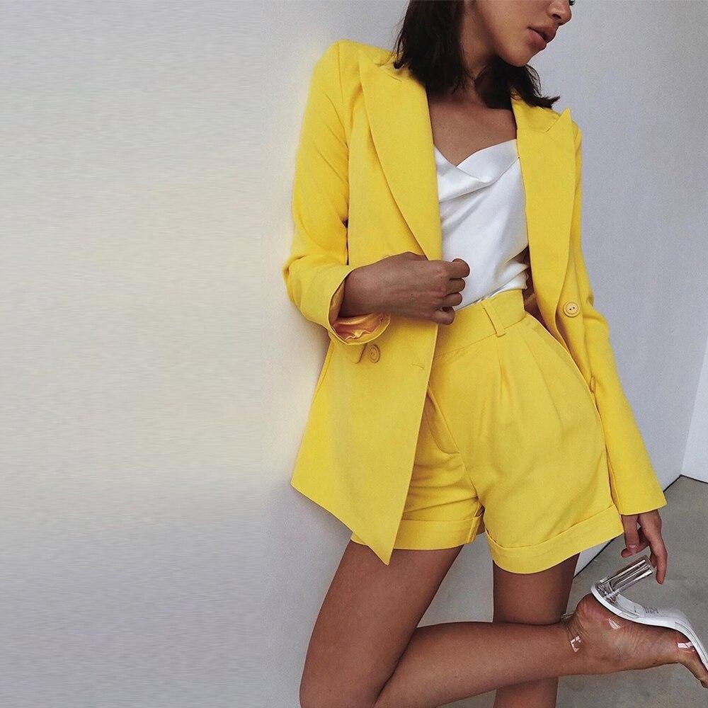 Work Ol Suit Female Blazer + Shorts Suit Set Casual Women Blazers Chic Clothing Set Elegant Lady Office Set 2 Pieces Outfits D25