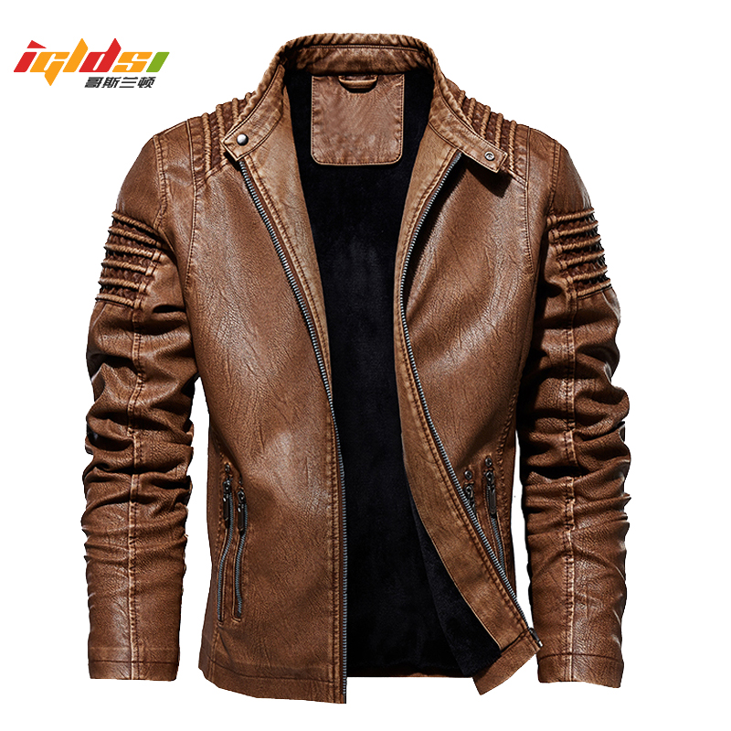 Men's Winter Leather Jacket Motorcycle Biker PU Leather Coats Male Outerwear Fashion Warm Thicken Faux Wool Liner Jacket M-5XL