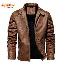 Men's Winter Leather Jacket Motorcycle Biker Leather Coats M