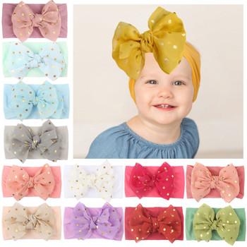 1pc noworodka nakrycia głowy niemowlę dziewczynek kropkowany łuk pałąk Stretch Hairband akcesoria do nakrycia głowy urocze prezenty rekwizyty fotograficzne R5 tanie i dobre opinie CN (pochodzenie) POLIESTER dla dziewczynek W wieku 0-6m 7-12m 13-24m 25-36m nylon baby Infant Baby Girls Solid Flower Headband Stretch Hairband Headwear