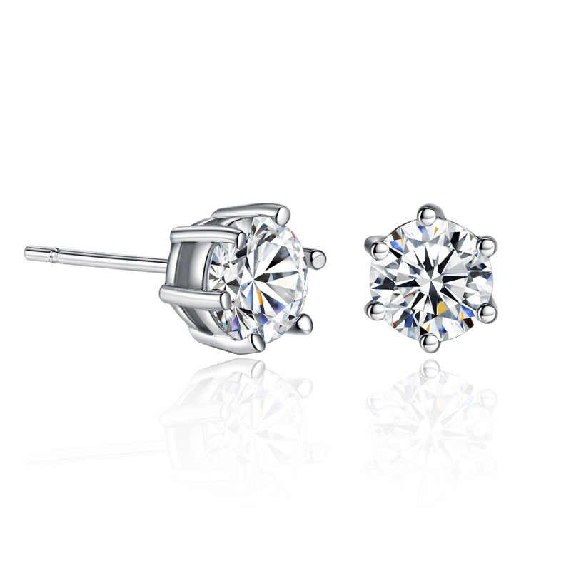 ZHOUYANG Trendy Simple 6 Claws Zirconia Stud Earrings For Women Silver Clear Color Daily Party Wedding Fashion Jewelry KAE057