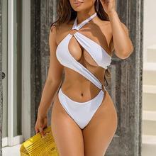 Bodysuits Monokini Bathing-Suit White Swimwear High-Cut Women New HALTER Mossha Female