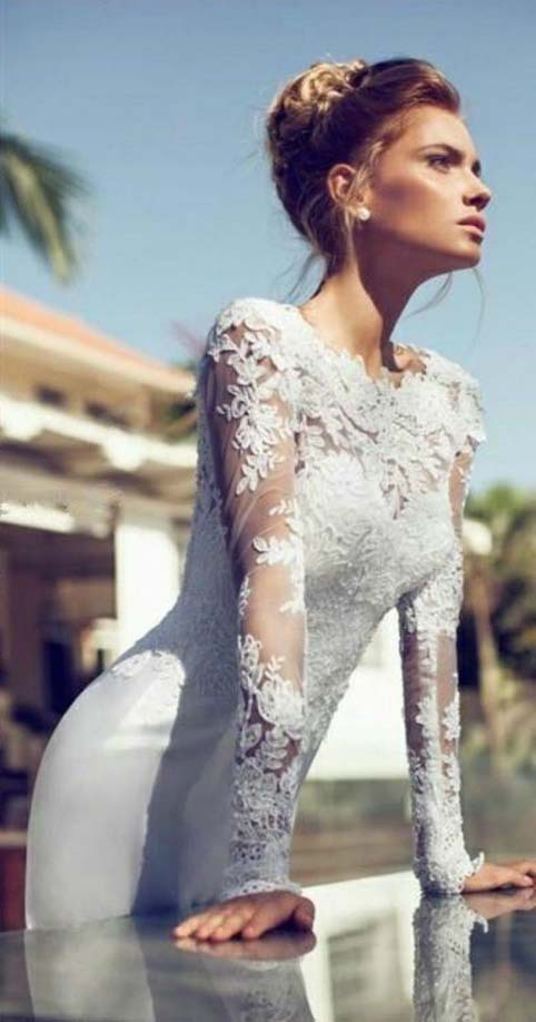 2016 New Arrive Custom Made Lace Chiffon Long Sleeve Wedding Dress Bridal Gown