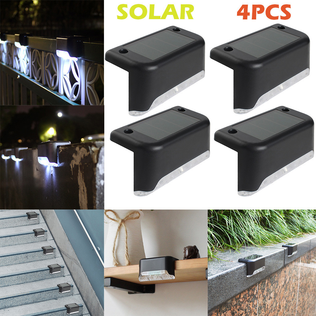 #20 4PCS LED Solar Path Stair Outdoor Light Garden Yard Fence Wall Landscape Lamp Home Improvement Home Accessories