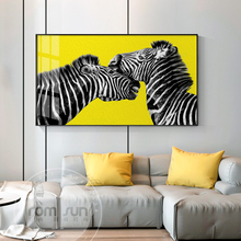 Abstract Yellow Zebra Couples Canvas Painting Modern Print Poster Animal Wall Art Decor For Living Room Bedroom Decor Abstract men abstract animal print tee