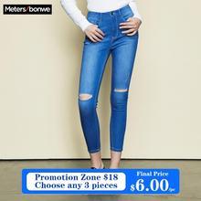 Metersbonwe için ince kot kadın kot delik tasarım mavi Denim kalem ayak bileği uzunlukta pantolon yüksek kaliteli streç bel kadın kot
