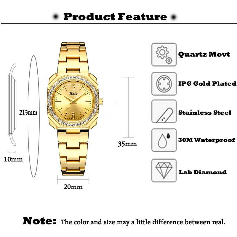 MISSFOX 2020 אלגנטי נשים של שעוני יוקרה מותג כיכר 18K זהב נקבה שעוני יד נשים קוורץ עמיד למים קלאסי ז 'נבה שעון