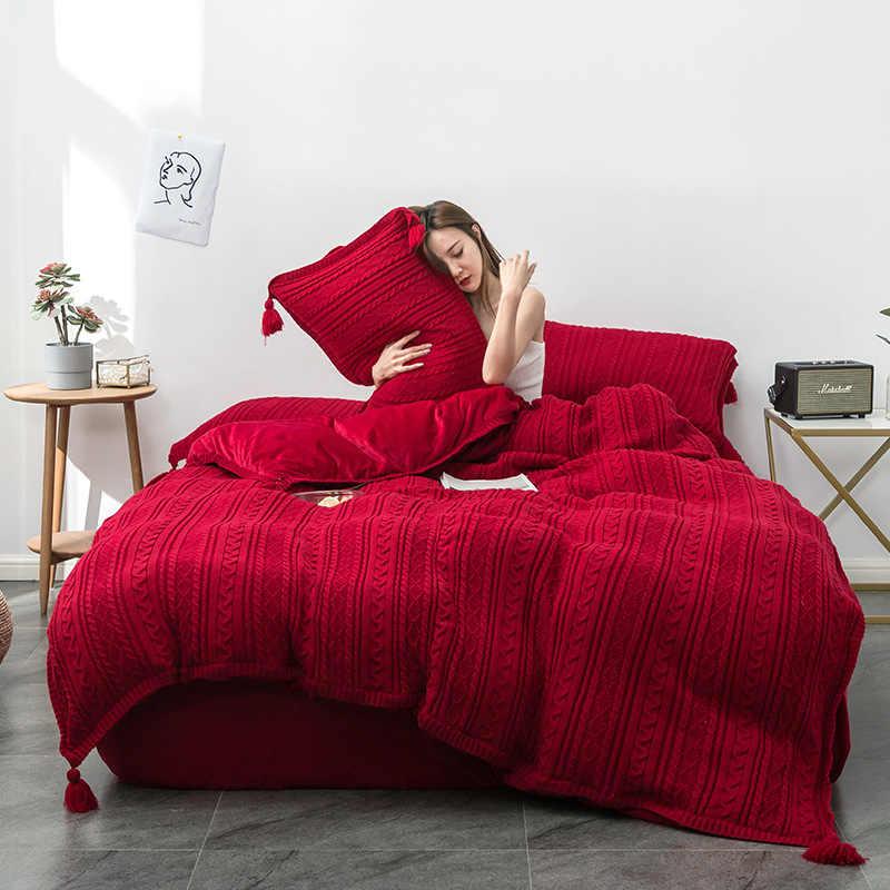 Вязаный шерстяной Комплект постельного белья, теплая зимняя простыня, наволочка и пододеяльник, набор хрустальных фланелевых флисовых постельного белья thinken, постельное белье с шариками