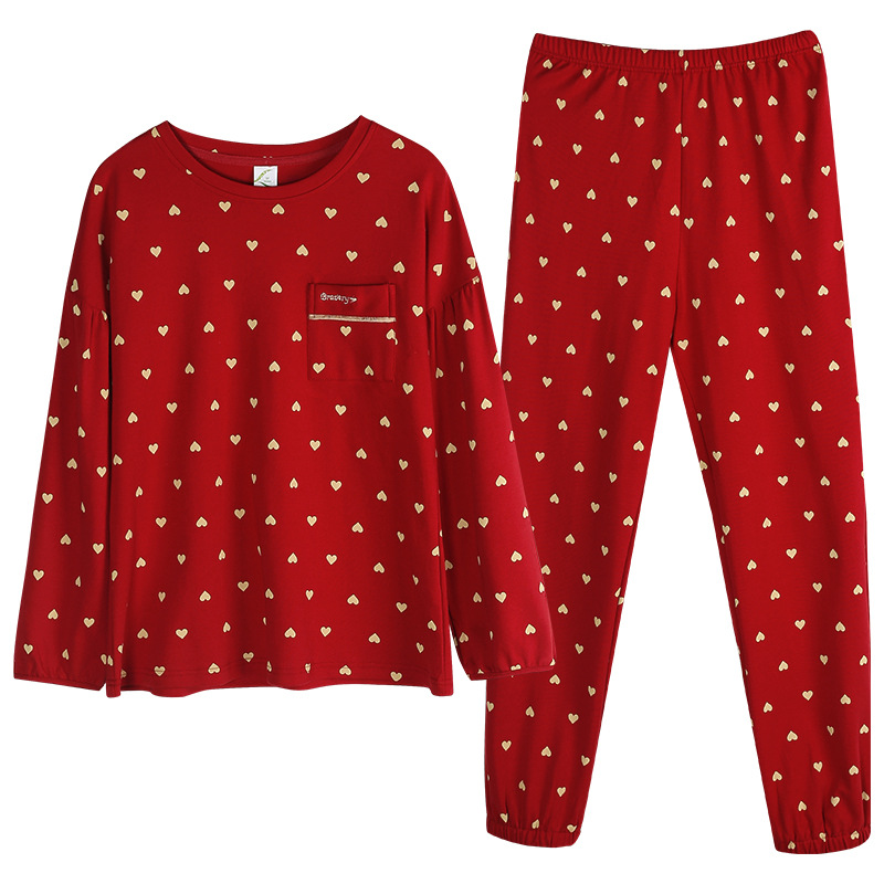 Pajamas Women's Spring and Autumn Cotton Long-Sleeved Large Size Red Wedding Autumn and Winter Lovely Suit Cotton Pajamas