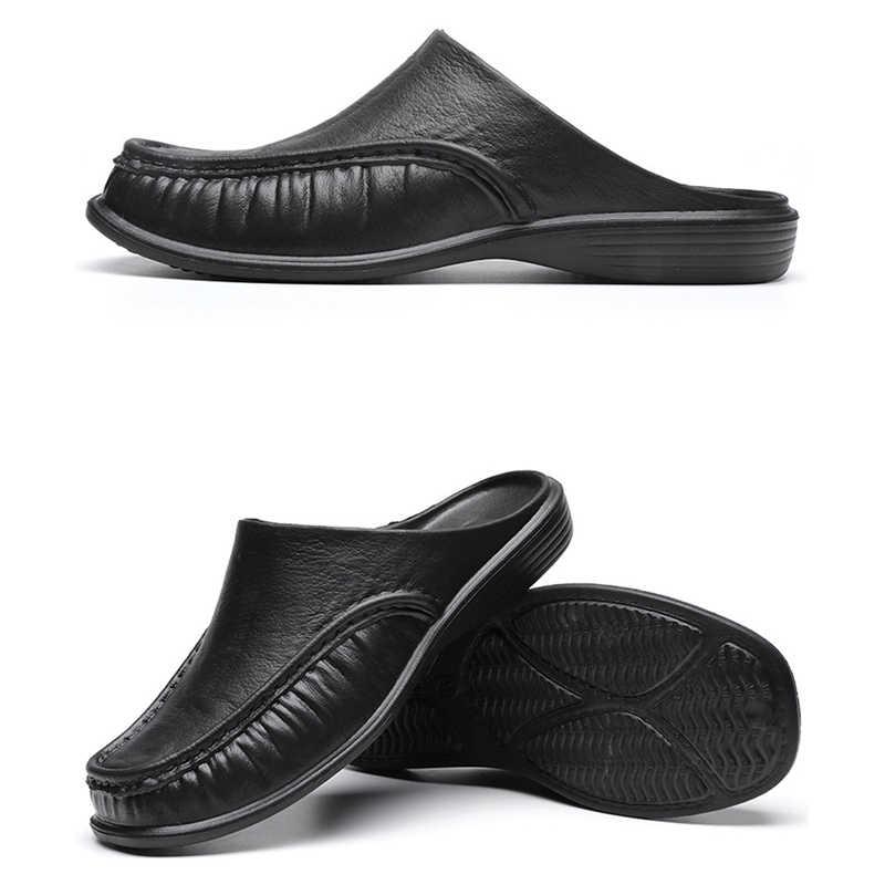 Yaz erkek ayakkabı rahat lüks marka erkek Penny loafer'lar deri yarım terlik kayma İtalyan sürüş ayakkabısı erkekler Moccasins