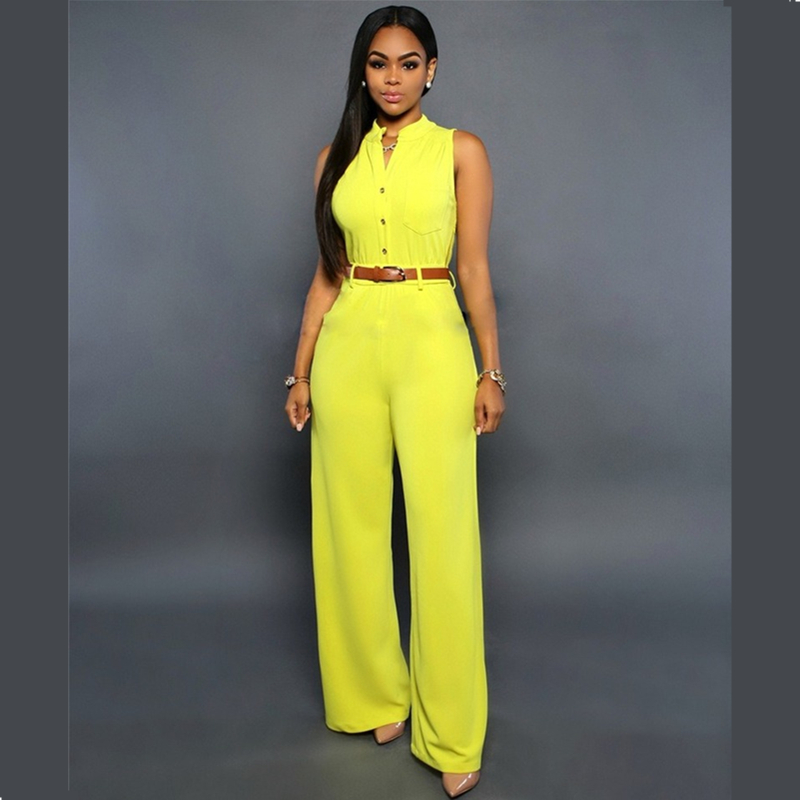 Summer 2019 Sleeveless V-neck Single Breasted High Waist With Belt Wide Leg Pants White Yellow Red Black Blue Jumpsuits