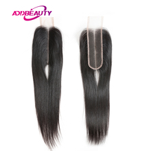Closure Virgin-Hair Body-Wave Natural-Color Straight Human 2x6 Addbeauty Lace Middle-Part