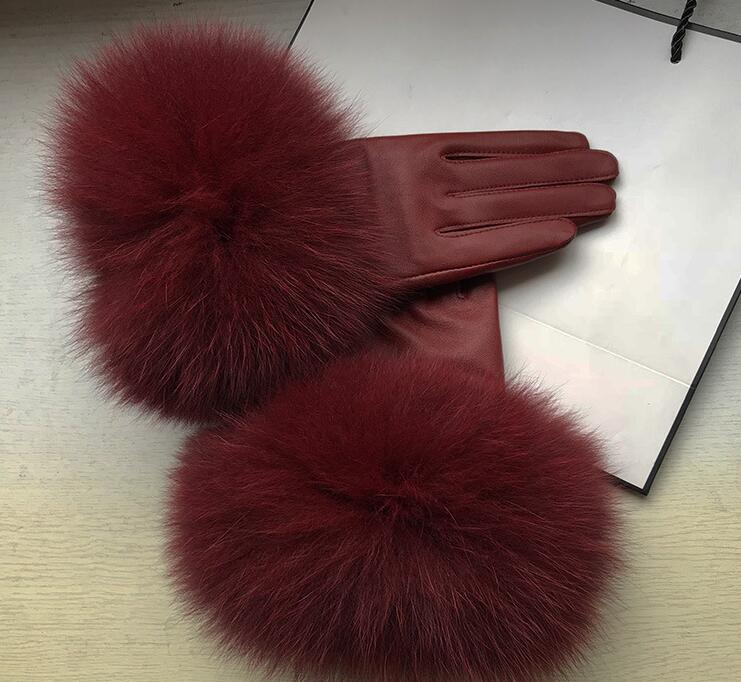 Women's natural big fox fur genuine leather glove lady's warm natural sheepskin leather plus size wine red driving glove R2454