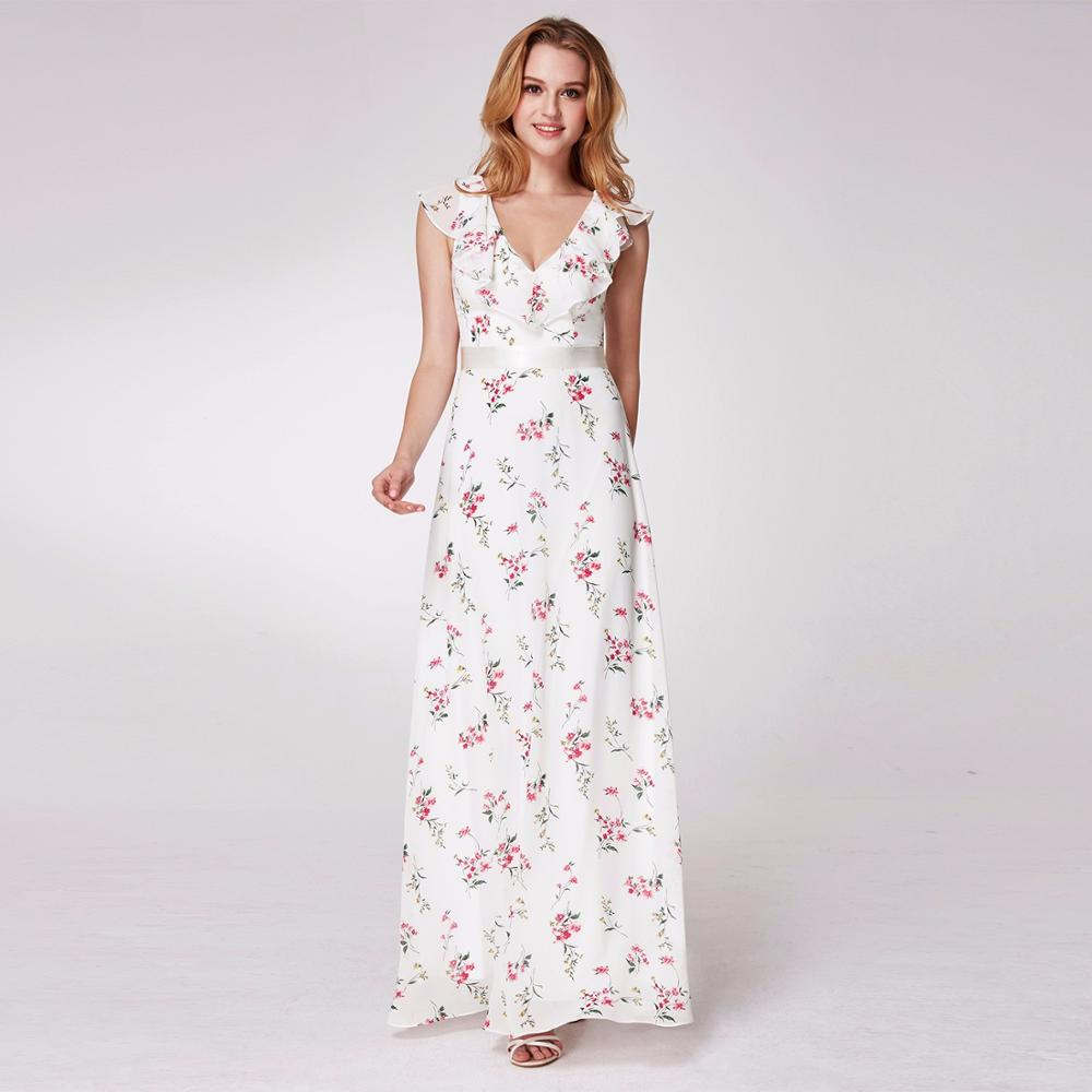Bridesmaid Dresses A-line Ankle-length V-neck Lotus Edge Sleeveless Printed Chiffon Wedding Guest Party Gowns Cheap Prom Dress