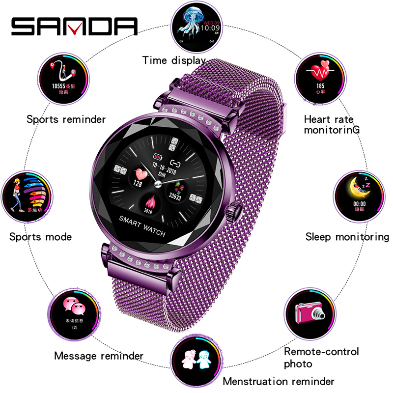 SANDA H2 Women Physiological Period Prediction Smart Dress Wristwatches Blood Pressure Call Reminder Heart Rate Monitor Calorie