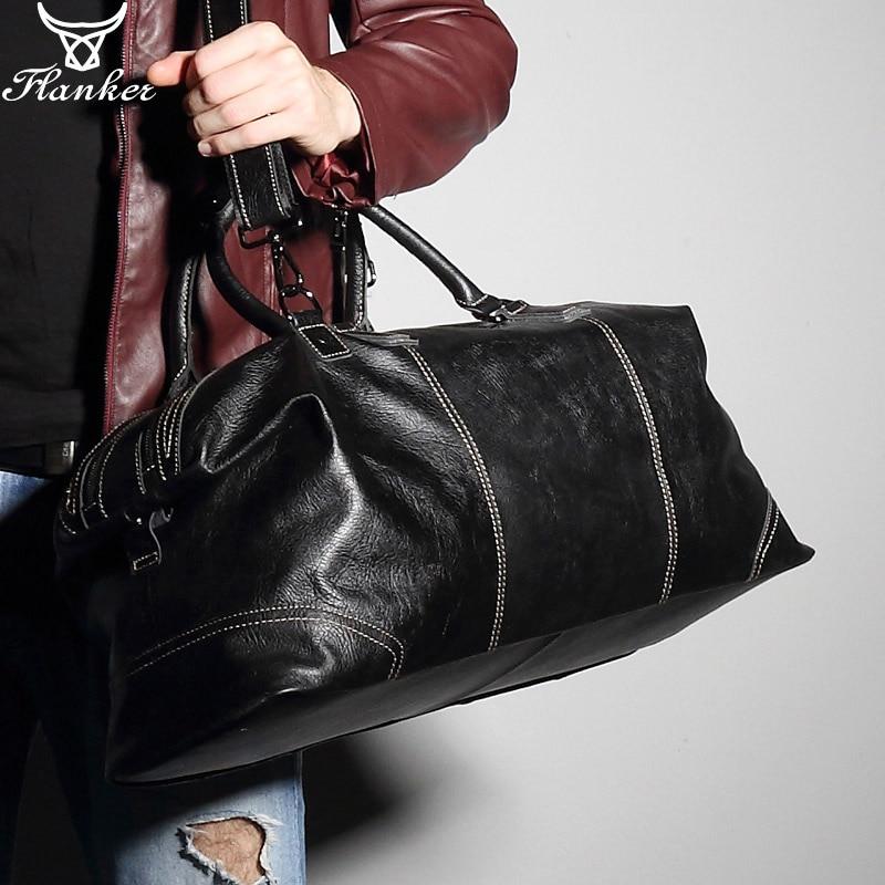 Flanker genuine leather men travel duffle fashion weekend bags soft cow handbag big shoulder bag large tote