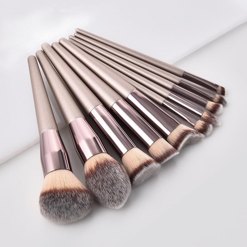 GUJHUI Luxury Champagne Gold Makeup Brush Foundation Make Up Brushes Set High-grade Nylon Powder Pincel Cosmetics Beauty Tools