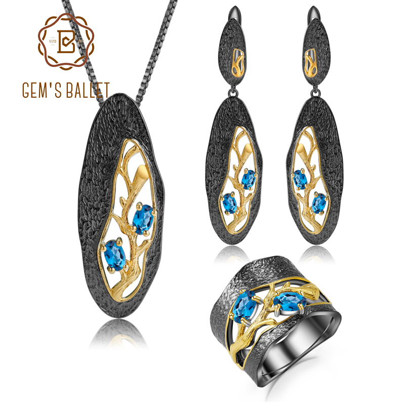Blue Natural Diamond Pendant Earring /& Ring Set Gold Over Sterling Silver