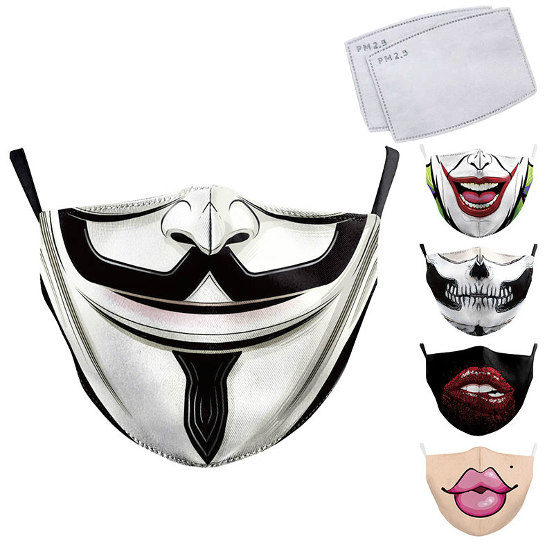 Adult Big Mouth Print Face Fabric Masks Skull Mouth Cover Reusable Protection Dust Washable Masks Proof Bacteria Mask
