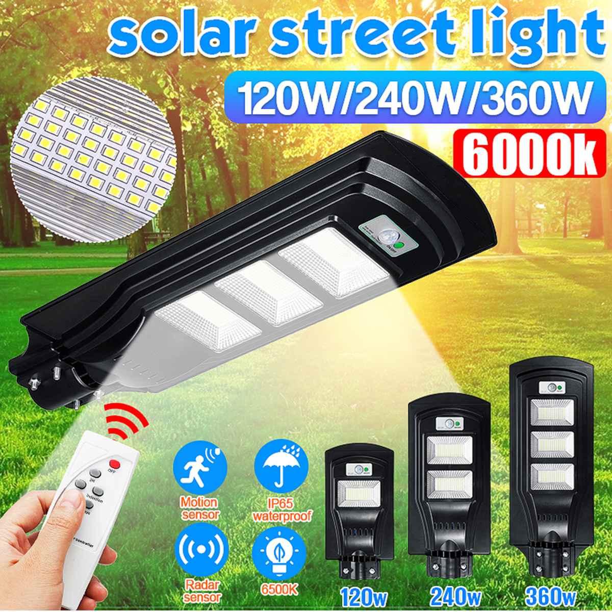 120W/240W/360W 117/234/351 LED Solar Light Solar Lamp Radar PIR Motion Sensor Wall Light+Remote Controller For Outdoor Gardenr