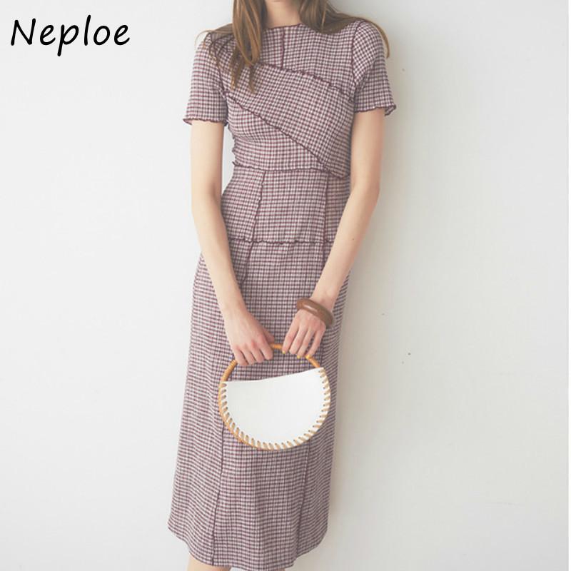 Neploe Chic Wooden Ear Patchwork Pleated Women Dress 2021 Spring Summer Drawstring Vestidos New High Waist Plaid Dresses 1H970
