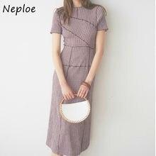 Neploe chique de madeira orelha retalhos plissado vestido feminino 2021 primavera verão cordão vestidos nova cintura alta xadrez vestidos 1h970