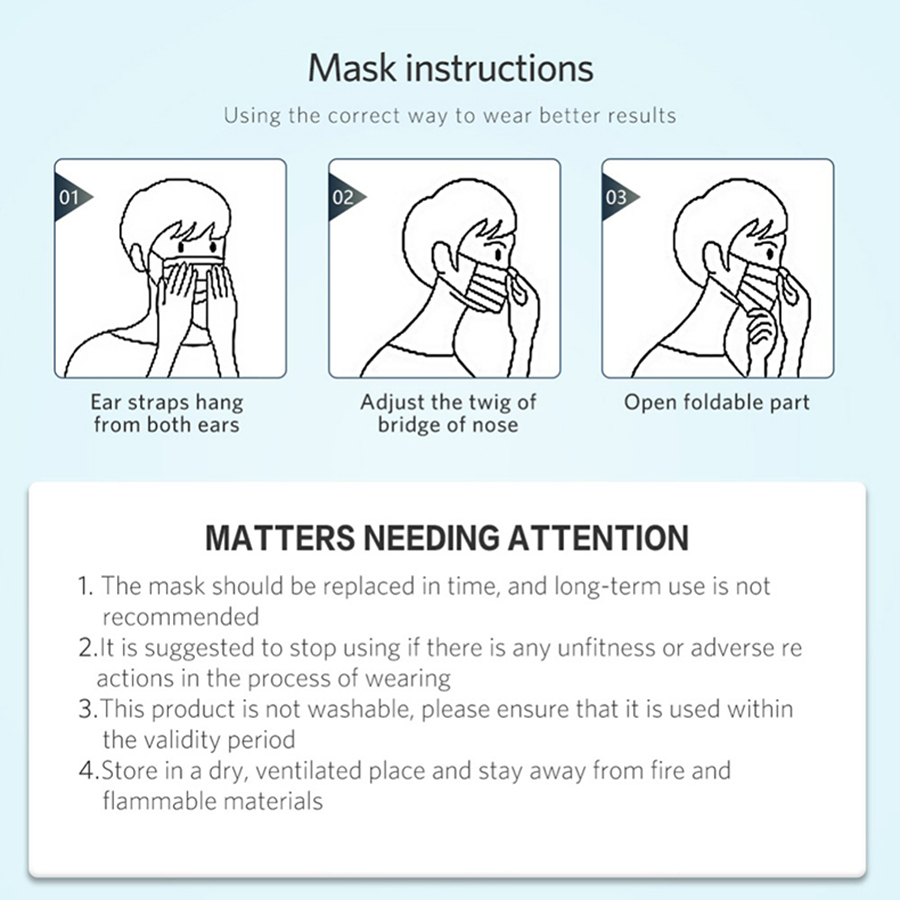 Image 4 - 50pcs Anti Pollution 3 Laye Mask dust protection Masks Disposable  Face Masks Elastic Ear Loop Disposable Dust Filter Safety MaskMasks