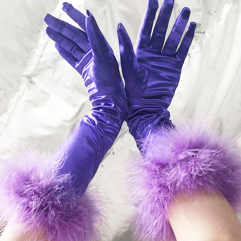 Party Queen Women Furry Gloves Solid Color Chic Sexy Club Wear Lady Satin Etiquette Glove Formal Prom Stretch Gloves