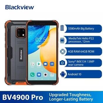 Перейти на Алиэкспресс и купить Оригинальный Blackview BV4900 Pro IP68 Водонепроницаемый смартфон 4 Гб + 64 Гб 5580 мАч Android 10 Helio P22 мобильный телефон 5,7 ''NFC мобильных телефонов