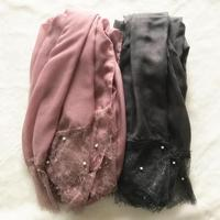 30 Colors set Fashion eyelash Lace edges scarf pearl hijab scarf women muslim lace headscarf