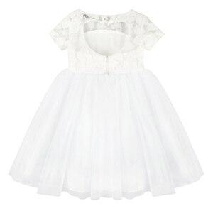 Image 5 - Blumen Kurzarm Weiß Baby Mädchen Kleid Infant Kleinkind Sommer Ballkleid Spitze Taufe Party Kleider Kinder Mädchen Kleidung