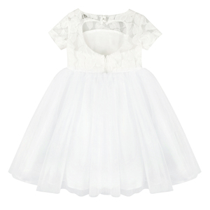 Image 5 - Flowers Short Sleeve White Baby Girl Dress Infant Toddler Summer Ball Gown Lace Christening Party Dresses Kids Girls Clothing