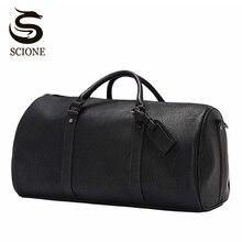Men Large Leather Handbag Vintage Business Travel Duffle Bag
