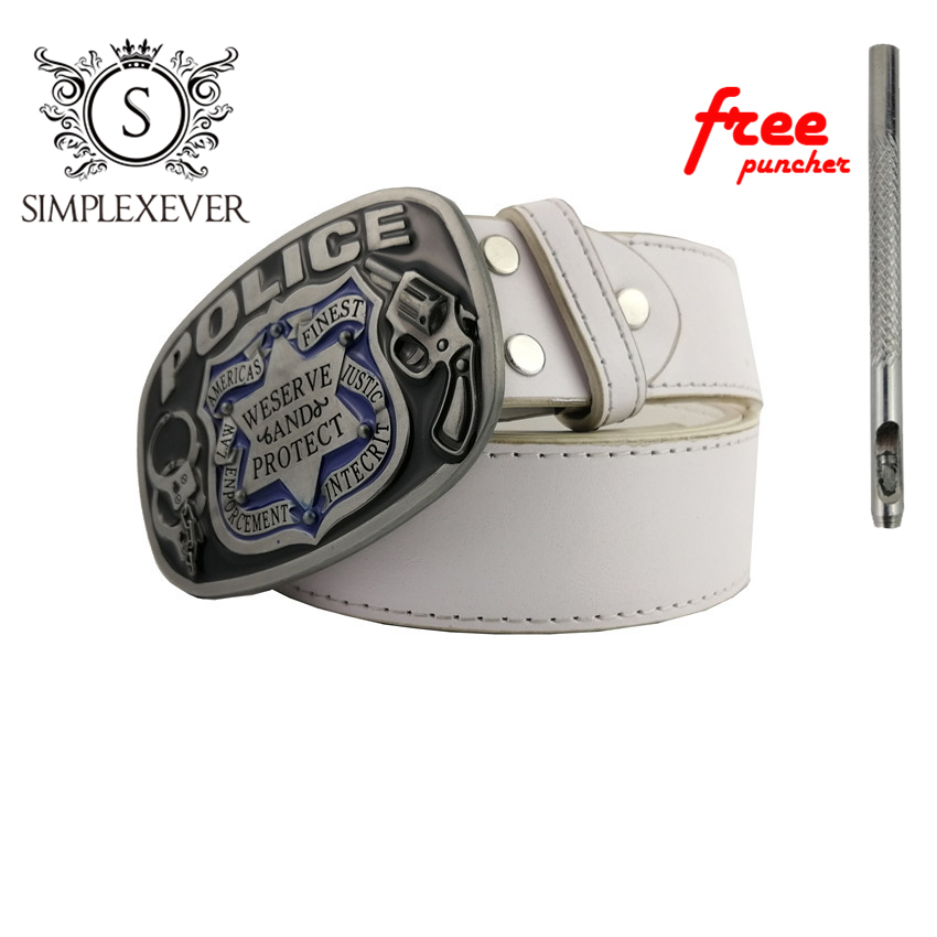 Police Metal Cool Belt Buckles for Man Unisex Western Fashion Buckle Cowboys Cowgirls Zinc Alloy Men's Belt Buckles with Belt