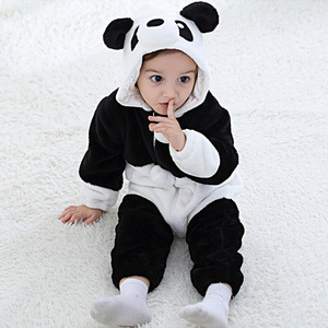 Image 5 - Baby Animal Flannel Romper Boy Girl Panda Rabbit Tiger Hooded Playsuit Toddle Dinosaur Cosplay Outfits Unisex Christmas Costume