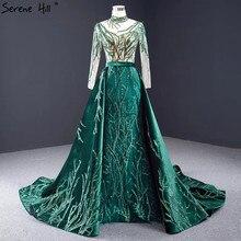 Dubai verde manga longa sexy vestidos de noite 2020 lantejoulas trem destacável sereia formal vestido sereno hill hm67084