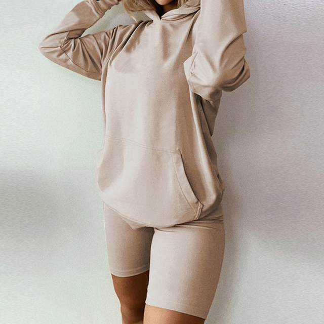 Details about  /Biker Shorts Hoodies Sweatshirt Set Joggers Two Piece Outfits Set Clothes Women