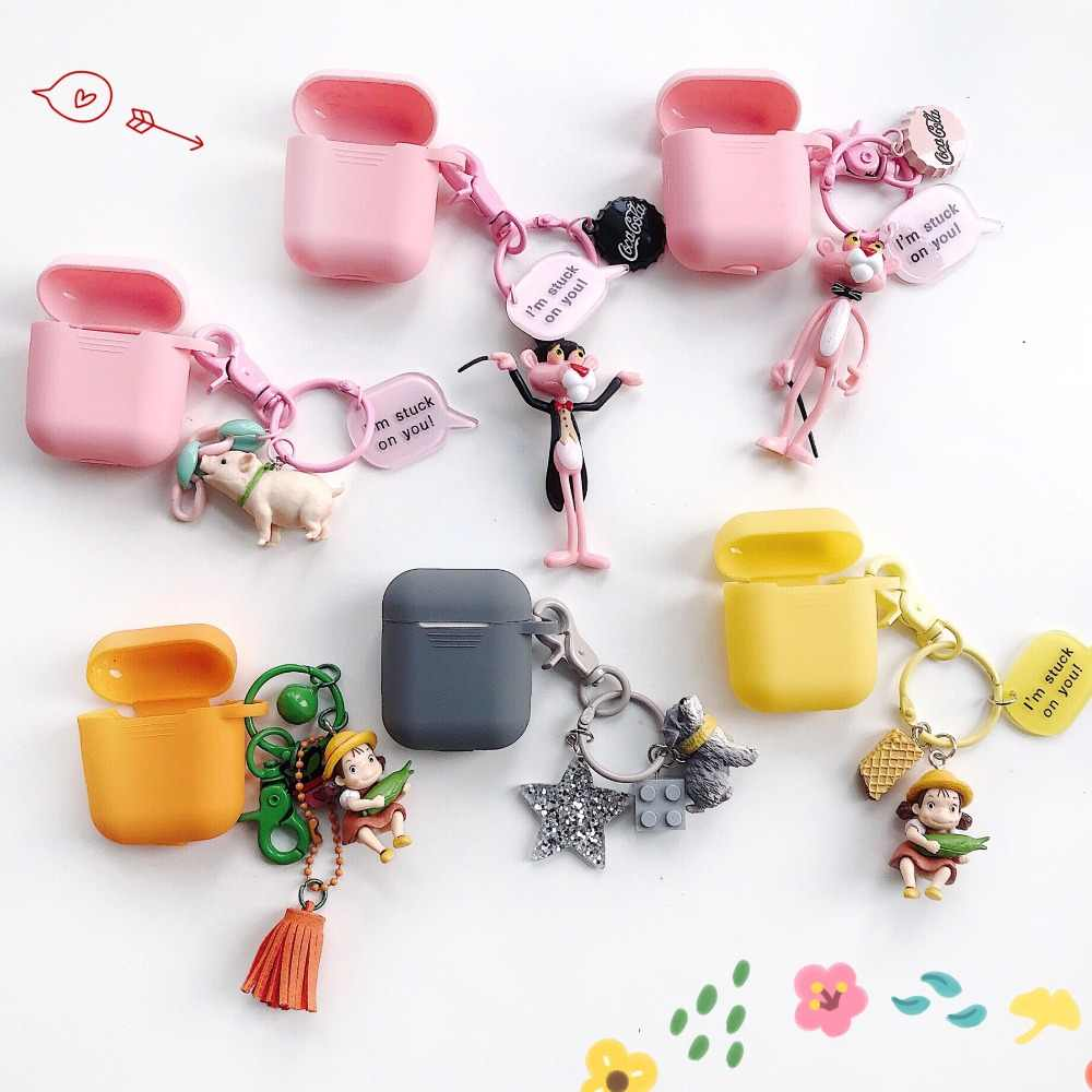 For AirPods Case cute Cartoon with key ring cover luxury Accessories with keychain Silicone Cases For Air pods 2 Earphone Cover