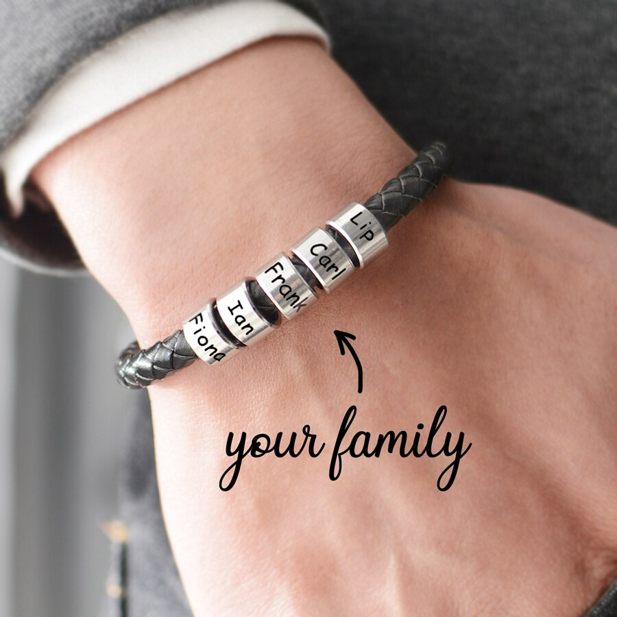 Personalized Men Leather Bracelet with 1-5 Names Beads Customized Family Names Black Rope Magentic Buckle Bracelets for Men Wome