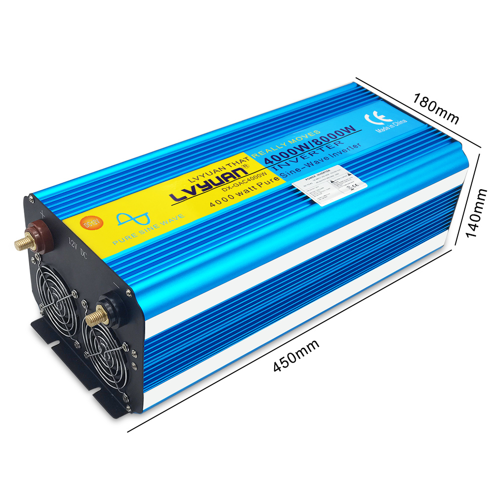 H43a1ed6805094741b3edb3fe2df76f1eQ - 8000W peak power pure sine wave DC 12V/24V TO AC 220V 50Hz or 60Hz solar power inverter with 3.1A USB Dual LED display EU socket