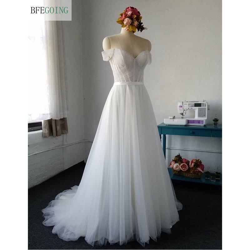 Simple White Tulle Sweetheart Strapless  Floor-Length A-line Wedding Dress Court Train  Custom Made