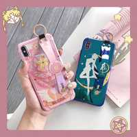 Glossy Blue Ray Sailor Mond Abdeckung für Iphone 11 Pro Xs Max Fall Handgelenk Strap Nette Cartoon Fall für Iphone X XR 6 7 8 Plus Funda