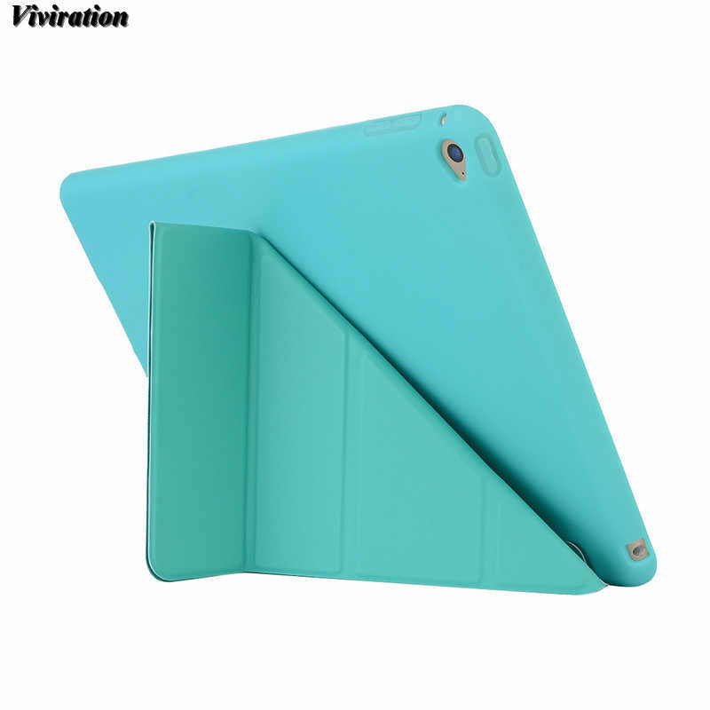 Venta al por mayor Flexible magnética Flip Stand Cover para Apple IPad 6/iPad Air 2 9,7 pulgadas PC funda alta calidad cubierta suave de la tableta inteligente