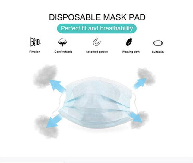100Pcs/Lot Universal Disposable Mask Replacement Pad Fit Flu Masks New Arrival 3