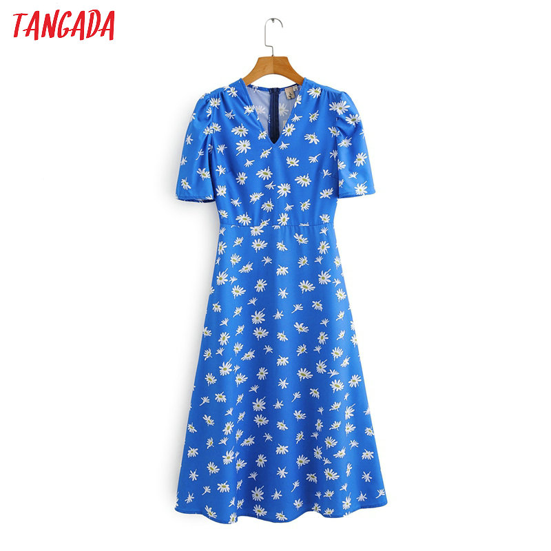 Tangada Fashion Women Blue Flowers Print Midi Dress Short Sleeve V Neck Ladies Vintage Back Zipper Vestidos 2F06
