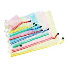 10 Pcs/Lot Gridding A4 A5 A6 Waterproof File Bag Holder Zip Document Pocket Organizer Plastic Storage Folder Office Stationery