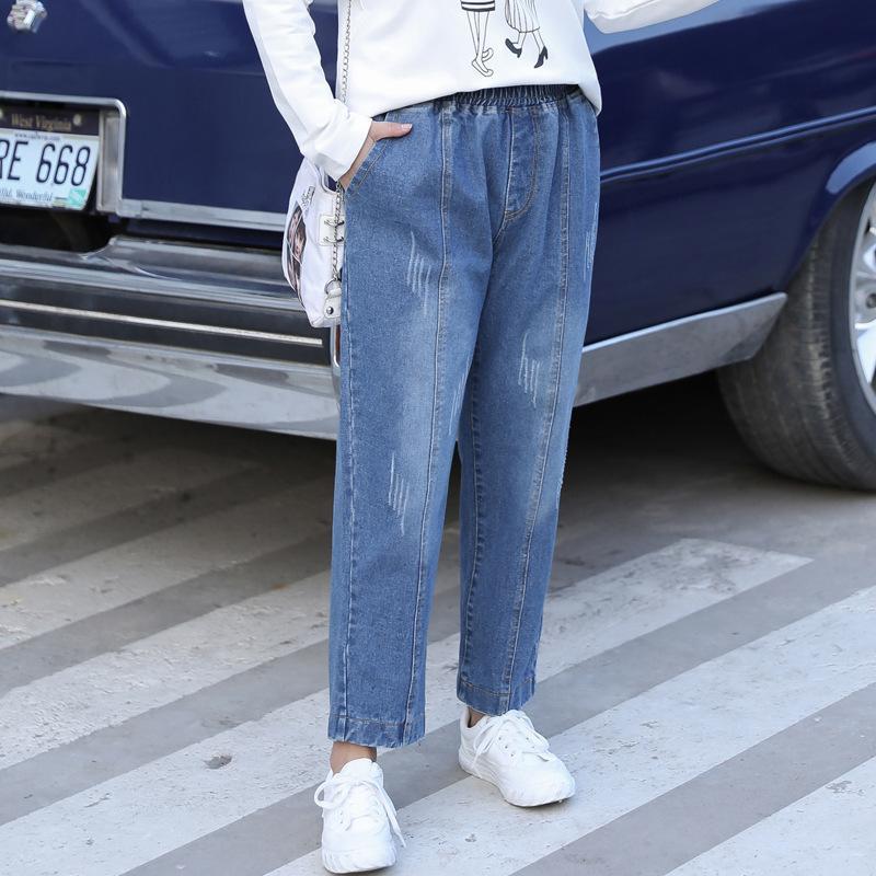 7XL 8XL Autumn Winter Plus Size Jeans Women Casual Elastic Waist Blue Jean Trousers 5XL 6XL Large Size Female Harem Denim Pants