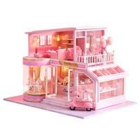 Children DIY Doll House Wooden doll Houses Miniature dollhouse Furniture Kit with Music Led Toys for Birthday Gift