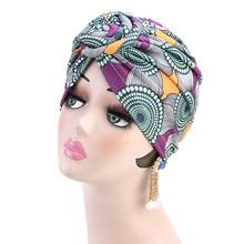 Fashion Print Hair Turban Cap Women Vortex Flower Muslim Hat Bandanas Headwear Chemotherapy Cap Hijab Ethnic Print поло print bar vortex